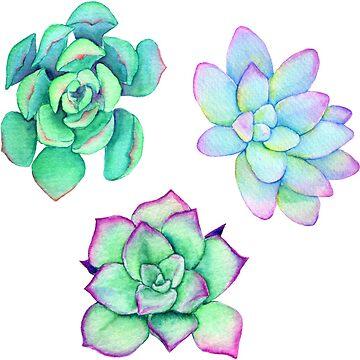 Bright Watercolor Succulent Plant Pattern by JenniferCharlee