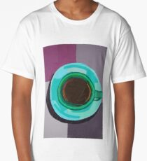 Green Coffee Cup from a Bird's Eye View Long T-Shirt