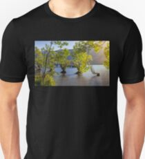 Golden lit Trees at Glenorchy Wharf in New Zealand Unisex T-Shirt