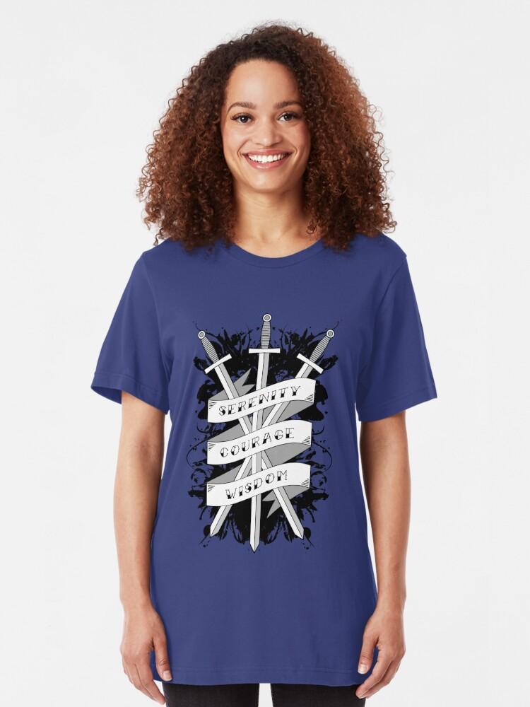 Alternate view of Serenity, Courage & Wisdom Slim Fit T-Shirt