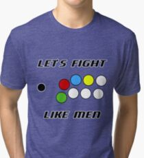Arcade Stick: Let's Fight Like Men Tri-blend T-Shirt