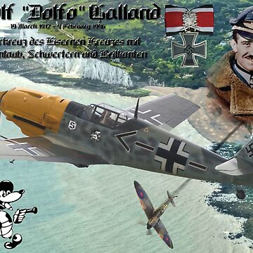 Adolf Galland over Dover by BasilBarfly