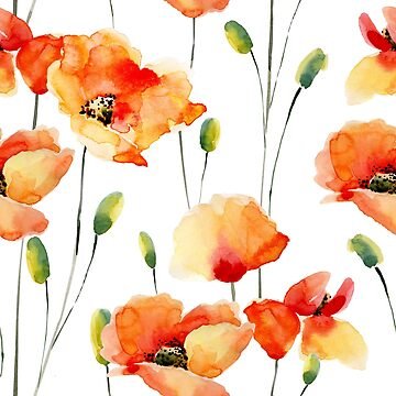Watercolor Poppies Pattern - for Women by indicat