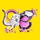 Yellow Purple Elephant by theblackdavinci