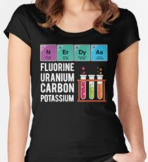Funny Nerdy As Fluorine Uranium Carbon Potassium Science T Shirts Gifts for Women Men Women's Fitted Scoop T-Shirt