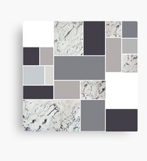Brown Grey squares marble pattern Canvas Print