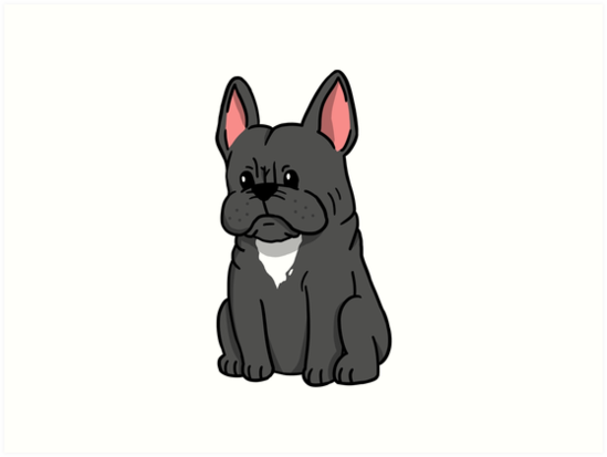 French Bulldog Cute Cartoon Art Prints By Ilovepaws Redbubble