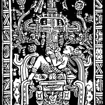Ancient Astronaut, Pakal, Maya, sarcophagus lid, in Black & White by TOMSREDBUBBLE