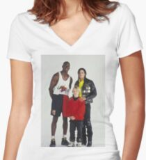 Michael Jackson, Jordan, Macaulay Culkin Women's Fitted V-Neck T-Shirt