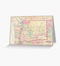 Vintage Map of Washington State (1874) Greeting Card