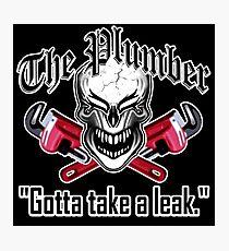 Laughing Plumber Skull: Gotta Take a Leak Photographic Print