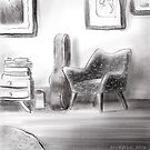 Guitar and chair in a lounge room by Richard Morden