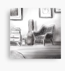 Guitar and chair in a lounge room Canvas Print