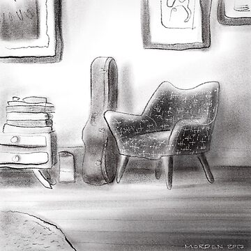 Guitar and chair in a lounge room by morden