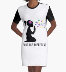 Embrace Different - Autism Awareness Graphic T-Shirt Dress