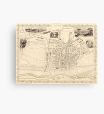 Vintage Map of Perth Scotland (1851) Canvas Print