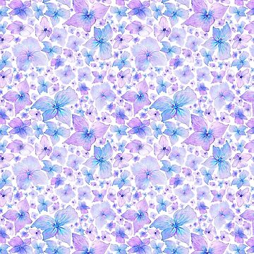 Hydrangea Watercolor Pattern by Neginmf