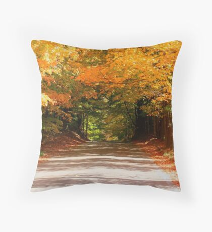 Fall Road Home Throw Pillow