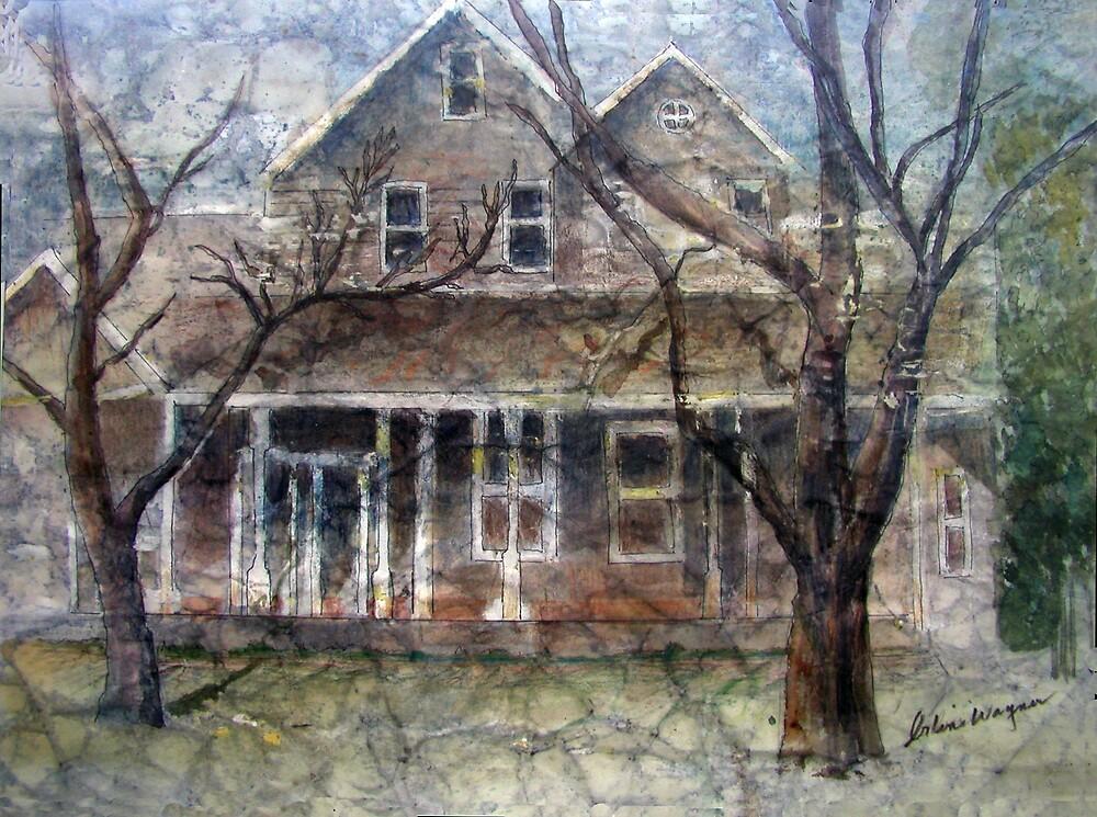 Brown Batik House by arline wagner