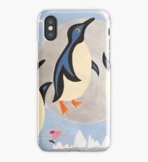 Penguins Playing with the Moon iPhone Case