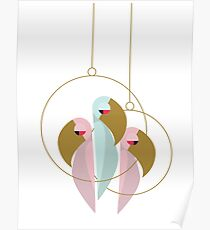 Abstract Pink & Blue Parrots Poster