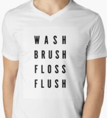 Wash,brush,floss,flush Men's V-Neck T-Shirt