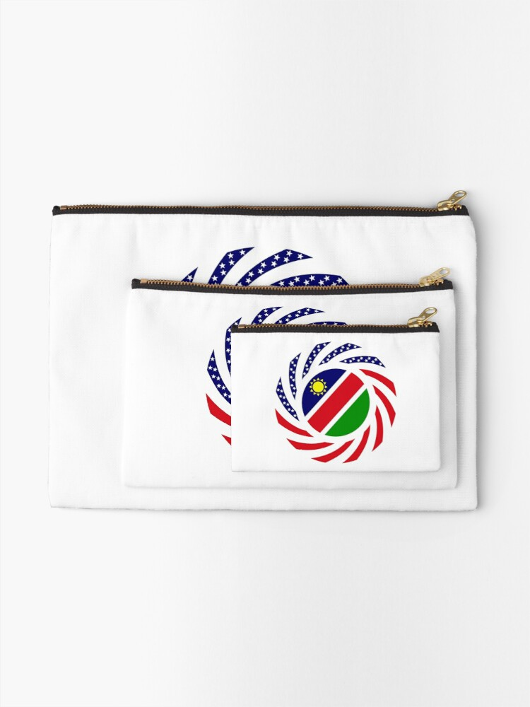 Alternate view of Namibian American Multinational Patriot Flag Series Zipper Pouch