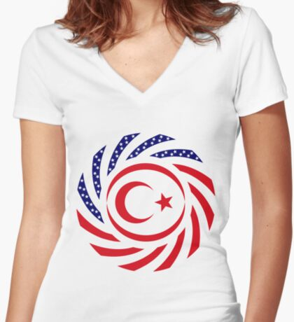 Northern Cyprus American Multinational Patriot Flag Series Fitted V-Neck T-Shirt