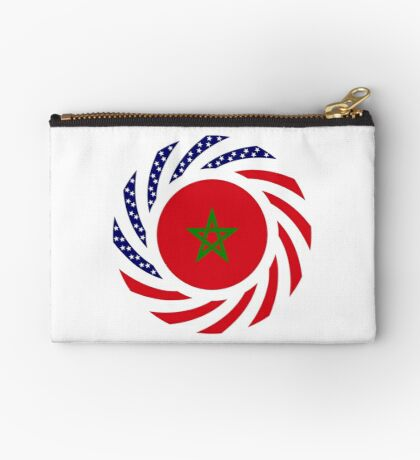 Moroccan American Multinational Patriot Flag Series Zipper Pouch