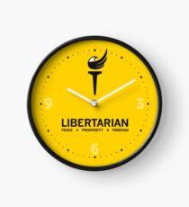 Libertarian Torch Eagle Freedom Kapitalismus mit Slogan Frieden, Wohlstand, Freiheit - schwarz und gelb Uhr