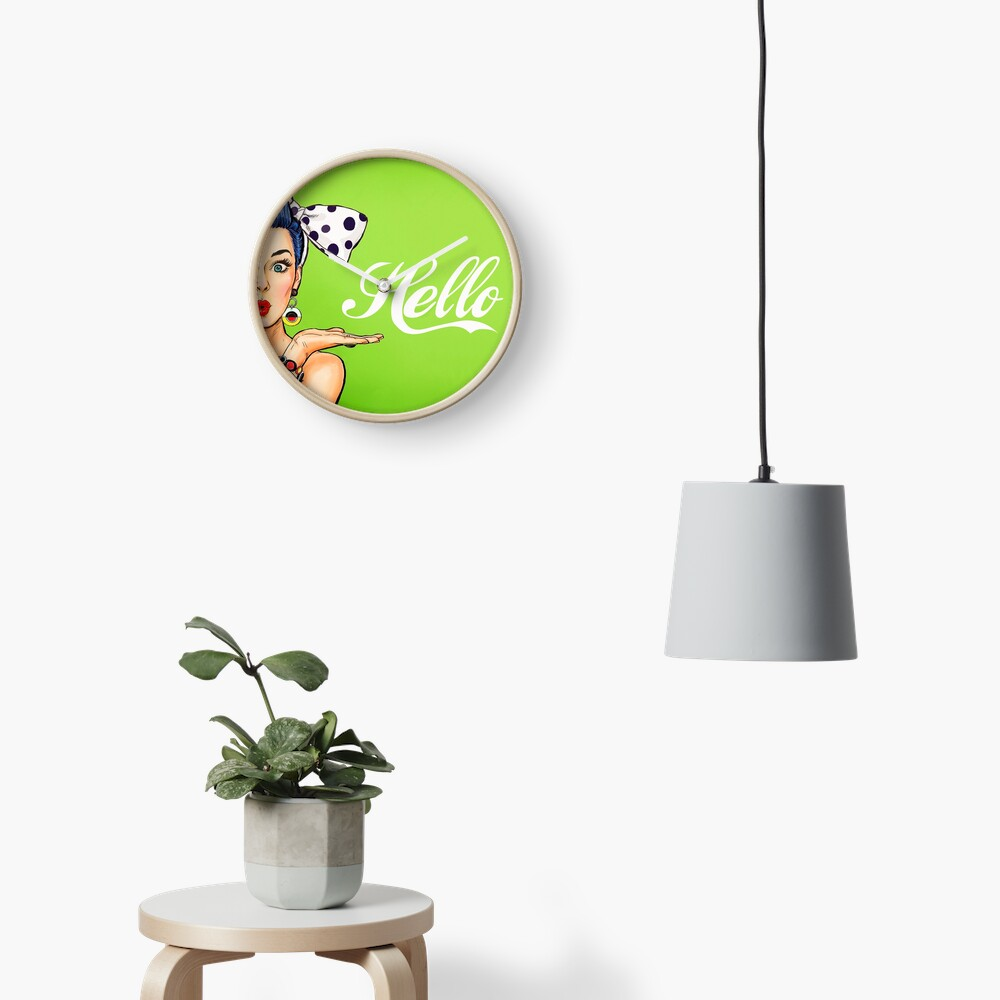 Pop art girl over green background, Hello! Clock