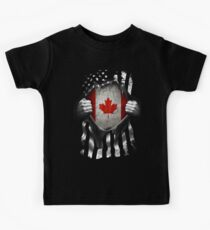 Canadian American Flag USA Canada Kids T-Shirt