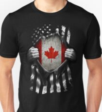 Kanadische amerikanische Flagge USA Kanada Slim Fit T-Shirt