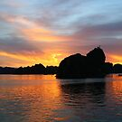 Sunset over Ha Long Bay, Vietnam by Gail Mew