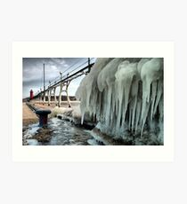 Grand Haven Pier with Ice Art Print