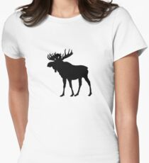 Moose (Black) Women's Fitted T-Shirt