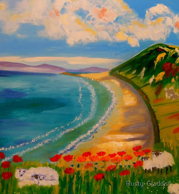 Spring Lambs at Rhossili by Rusty  Gladdish