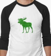 Moose: Rustic Green Plaid Men's Baseball ¾ T-Shirt