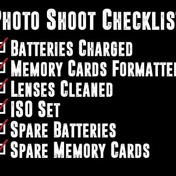 Photo Shoot Checklist by shaymurphy