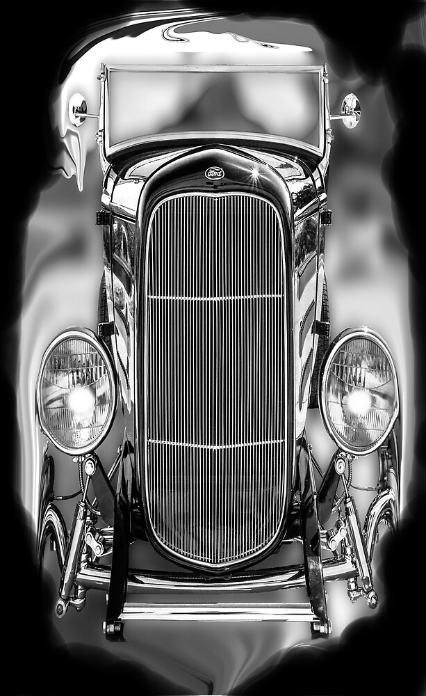 Retro, Vintage, Classic Old Cars, Black and White by Melody Koert