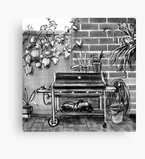 Barbecue and bucket in a back yard Canvas Print