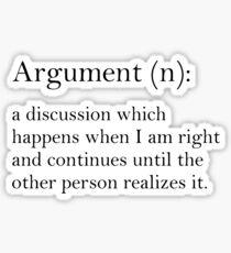 Argument - dictionary definition Sticker