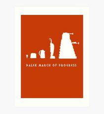 Dalek March of Progress White Art Print