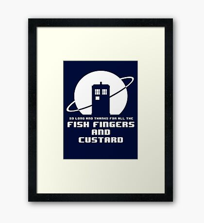 Fish Fingers and Custard White Framed Print