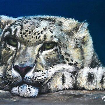 Snow Leopard Feeling Blue by Lefrog