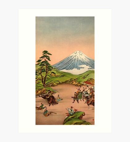 Samurai battle at Mt Fuji Art Print