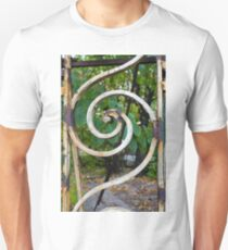Rusty spiral decorations on an old neglected ornamental iron fence  Unisex T-Shirt