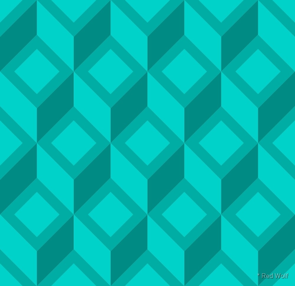 Geometric Pattern: Diamond Chevron: Aqua by * Red Wolf