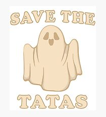 Save The Tatas - Halloween Ghost Themed Breast Cancer Awareness Gift Idea Photographic Print