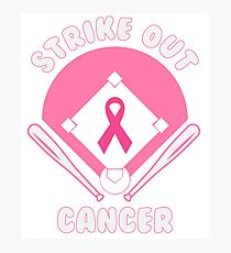Strike Out Breast Cancer - Baseball Lovers' Breast Cancer Awareness Gift Idea Photographic Print